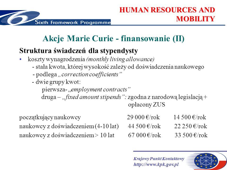Krajowy Punkt Kontaktowy http://www.kpk.gov.pl HUMAN RESOURCES AND MOBILITY Akcje Marie Curie - finansowanie (II) Struktura świadczeń dla stypendysty koszty wynagrodzenia (monthly living allowance) - stała kwota, której wysokość zależy od doświadczenia naukowego - podlega correction coefficients - dwie grupy kwot: pierwsza- employment contracts druga – fixed amount stipends: zgodna z narodową legislacją + opłacony ZUS początkujący naukowcy 29 000 /rok 14 500 /rok naukowcy z doświadczeniem (4-10 lat) 44 500 /rok 22 250 /rok naukowcy z doświadczeniem > 10 lat 67 000 /rok 33 500 /rok