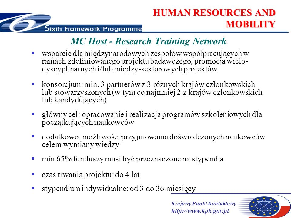 Krajowy Punkt Kontaktowy http://www.kpk.gov.pl HUMAN RESOURCES AND MOBILITY MC Host - Research Training Network wsparcie dla międzynarodowych zespołów