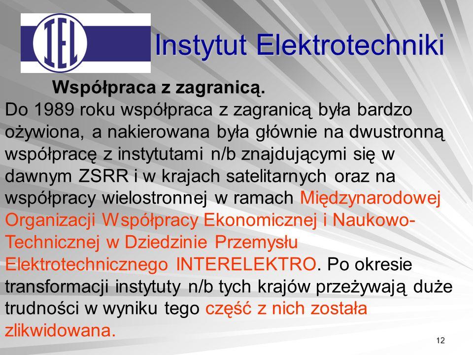 12 Instytut Elektrotechniki Współpraca z zagranicą.