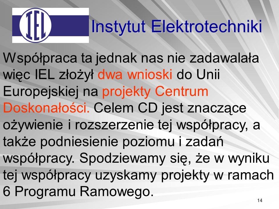 14 Instytut Elektrotechniki Współpraca ta jednak nas nie zadawalała więc IEL złożył dwa wnioski do Unii Europejskiej na projekty Centrum Doskonałości.