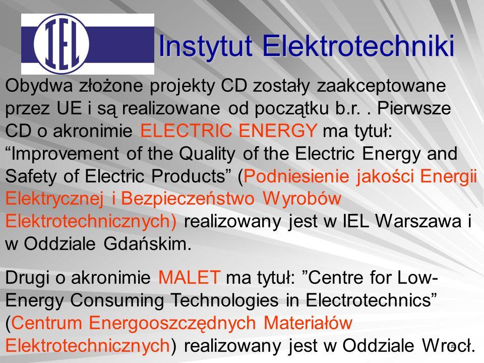 15 Instytut Elektrotechniki Obydwa złożone projekty CD zostały zaakceptowane przez UE i są realizowane od początku b.r..