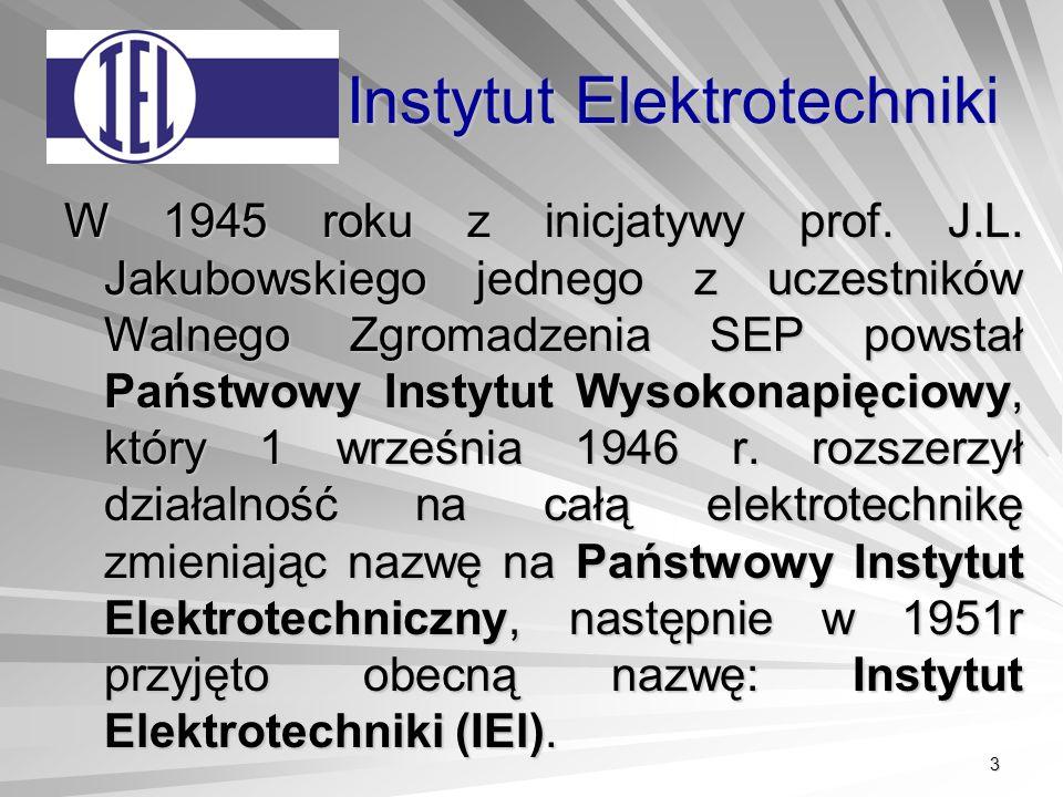 3 Instytut Elektrotechniki W 1945 roku z inicjatywy prof.