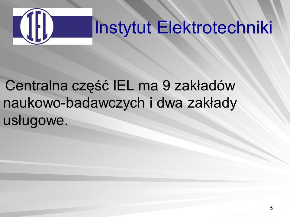 5 Instytut Elektrotechniki Centralna część IEL ma 9 zakładów naukowo-badawczych i dwa zakłady usługowe.