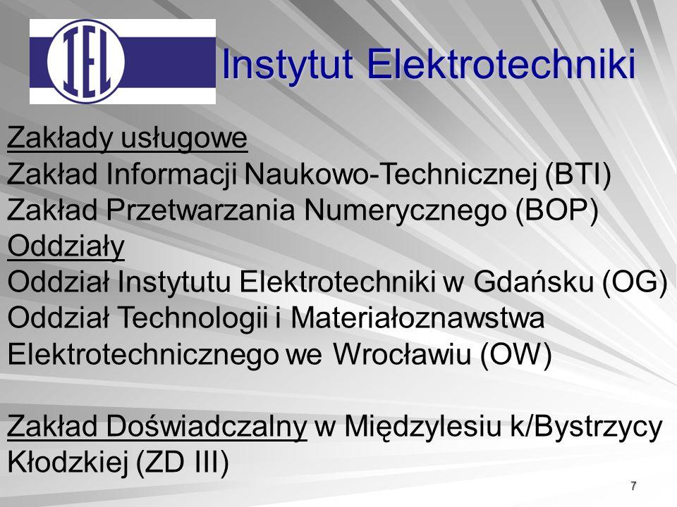 7 Instytut Elektrotechniki Zakłady usługowe Zakład Informacji Naukowo-Technicznej (BTI) Zakład Przetwarzania Numerycznego (BOP) Oddziały Oddział Instytutu Elektrotechniki w Gdańsku (OG) Oddział Technologii i Materiałoznawstwa Elektrotechnicznego we Wrocławiu (OW) Zakład Doświadczalny w Międzylesiu k/Bystrzycy Kłodzkiej (ZD III)