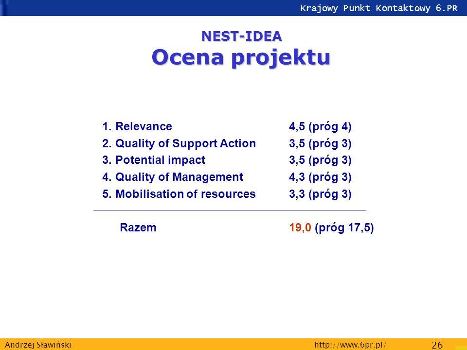 Krajowy Punkt Kontaktowy 6.PR http://www.6pr.pl/ 26 Andrzej Sławiński NEST-IDEA Ocena projektu 1.