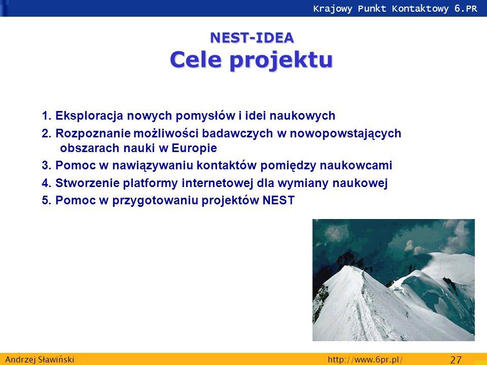 Krajowy Punkt Kontaktowy 6.PR http://www.6pr.pl/ 27 Andrzej Sławiński NEST-IDEA Cele projektu 1.