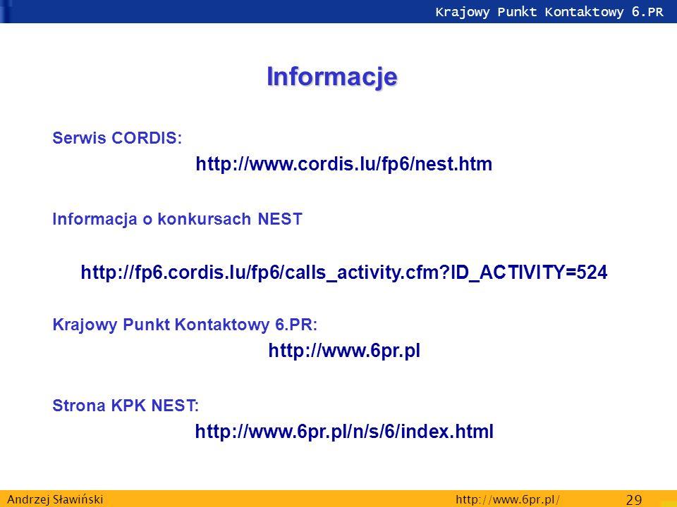 Krajowy Punkt Kontaktowy 6.PR http://www.6pr.pl/ 29 Andrzej Sławiński Informacje Serwis CORDIS: http://www.cordis.lu/fp6/nest.htm Informacja o konkursach NEST http://fp6.cordis.lu/fp6/calls_activity.cfm ID_ACTIVITY=524 Krajowy Punkt Kontaktowy 6.PR: http://www.6pr.pl Strona KPK NEST: http://www.6pr.pl/n/s/6/index.html