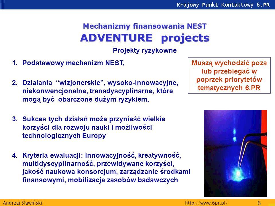 Krajowy Punkt Kontaktowy 6.PR http://www.6pr.pl/ 6 Andrzej Sławiński 1.Podstawowy mechanizm NEST, 2.Działania wizjonerskie, wysoko-innowacyjne, niekonwencjonalne, transdyscyplinarne, które mogą być obarczone dużym ryzykiem, 3.Sukces tych działań może przynieść wielkie korzyści dla rozwoju nauki i możliwości technologicznych Europy 4.Kryteria ewaluacji: innowacyjność, kreatywność, multidyscyplinarność, przewidywane korzyści, jakość naukowa konsorcjum, zarządzanie środkami finansowymi, mobilizacja zasobów badawczych Mechanizmy finansowania NEST ADVENTURE projects Projekty ryzykowne Muszą wychodzić poza lub przebiegać w poprzek priorytetów tematycznych 6.PR