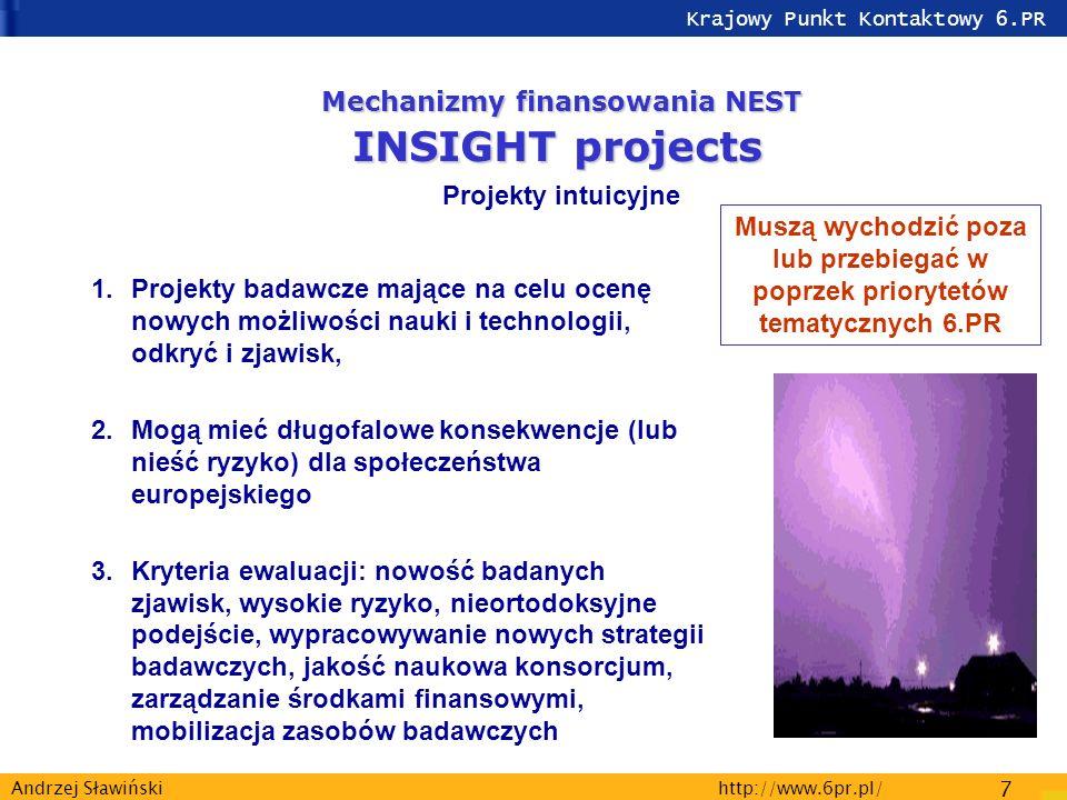Krajowy Punkt Kontaktowy 6.PR http://www.6pr.pl/ 7 Andrzej Sławiński 1.Projekty badawcze mające na celu ocenę nowych możliwości nauki i technologii, odkryć i zjawisk, 2.Mogą mieć długofalowe konsekwencje (lub nieść ryzyko) dla społeczeństwa europejskiego 3.Kryteria ewaluacji: nowość badanych zjawisk, wysokie ryzyko, nieortodoksyjne podejście, wypracowywanie nowych strategii badawczych, jakość naukowa konsorcjum, zarządzanie środkami finansowymi, mobilizacja zasobów badawczych Mechanizmy finansowania NEST INSIGHT projects Projekty intuicyjne Muszą wychodzić poza lub przebiegać w poprzek priorytetów tematycznych 6.PR