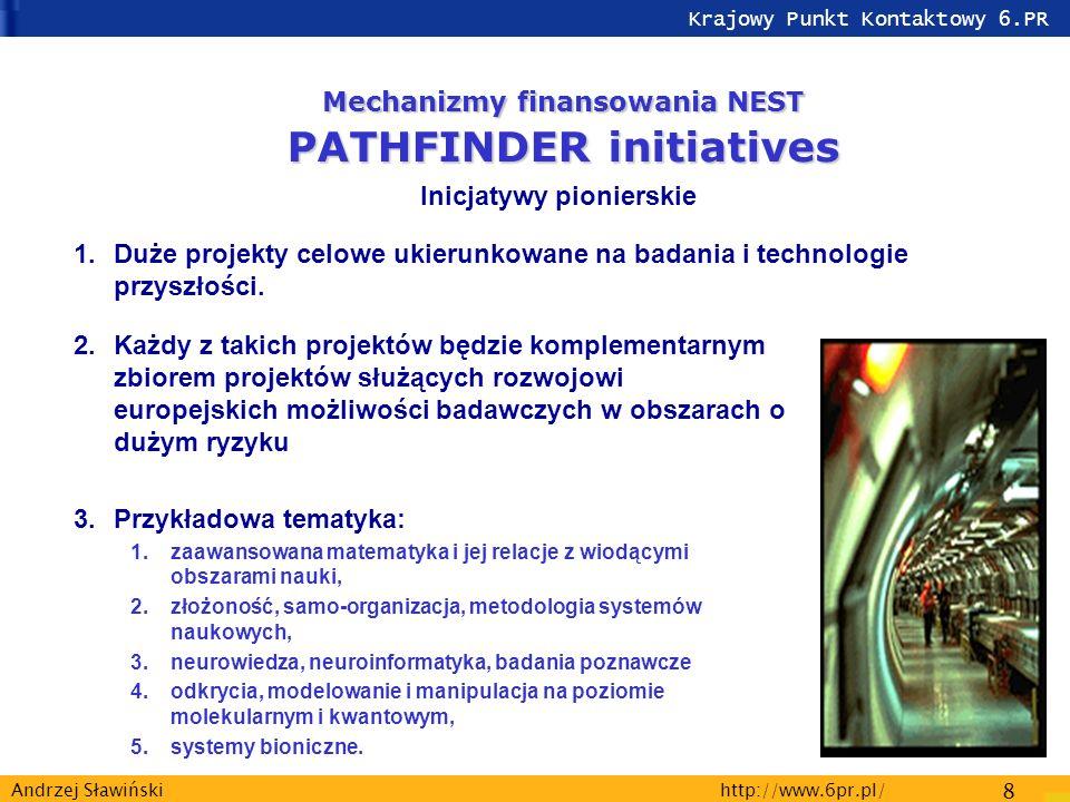 Krajowy Punkt Kontaktowy 6.PR http://www.6pr.pl/ 8 Andrzej Sławiński 2.Każdy z takich projektów będzie komplementarnym zbiorem projektów służących rozwojowi europejskich możliwości badawczych w obszarach o dużym ryzyku 3.Przykładowa tematyka: 1.zaawansowana matematyka i jej relacje z wiodącymi obszarami nauki, 2.złożoność, samo-organizacja, metodologia systemów naukowych, 3.neurowiedza, neuroinformatyka, badania poznawcze 4.odkrycia, modelowanie i manipulacja na poziomie molekularnym i kwantowym, 5.systemy bioniczne.