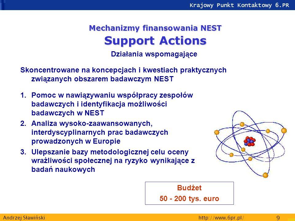 Krajowy Punkt Kontaktowy 6.PR http://www.6pr.pl/ 9 Andrzej Sławiński Mechanizmy finansowania NEST Support Actions Działania wspomagające Skoncentrowane na koncepcjach i kwestiach praktycznych związanych obszarem badawczym NEST 1.Pomoc w nawiązywaniu współpracy zespołów badawczych i identyfikacja możliwości badawczych w NEST 2.Analiza wysoko-zaawansowanych, interdyscyplinarnych prac badawczych prowadzonych w Europie 3.Ulepszanie bazy metodologicznej celu oceny wrażliwości społecznej na ryzyko wynikające z badań naukowych Budżet 50 - 200 tys.