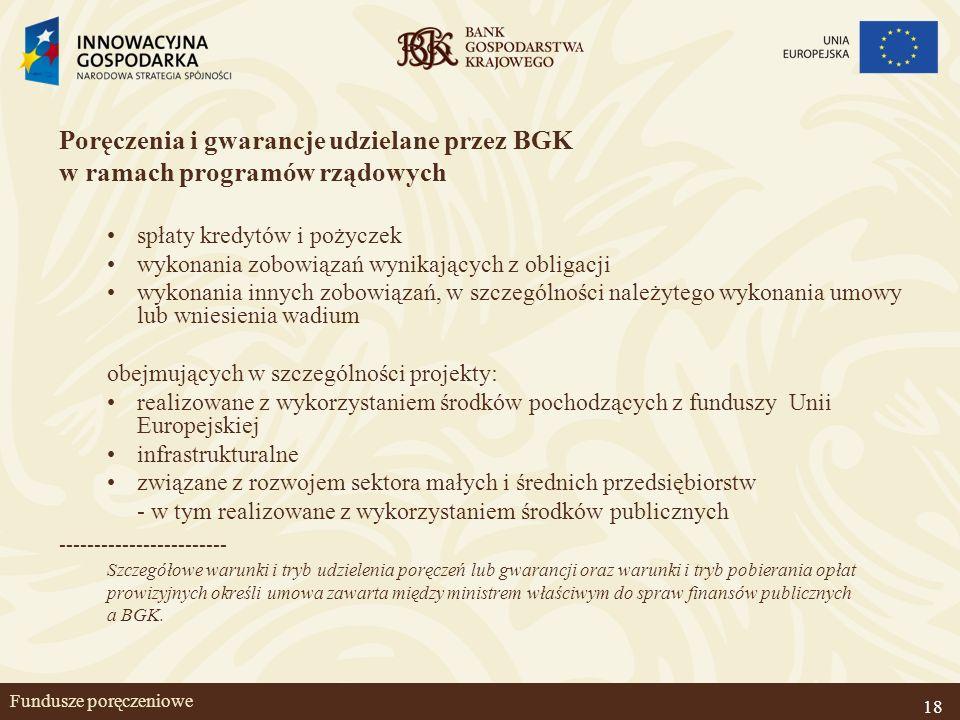 18 Fundusze poręczeniowe Poręczenia i gwarancje udzielane przez BGK w ramach programów rządowych spłaty kredytów i pożyczek wykonania zobowiązań wynik
