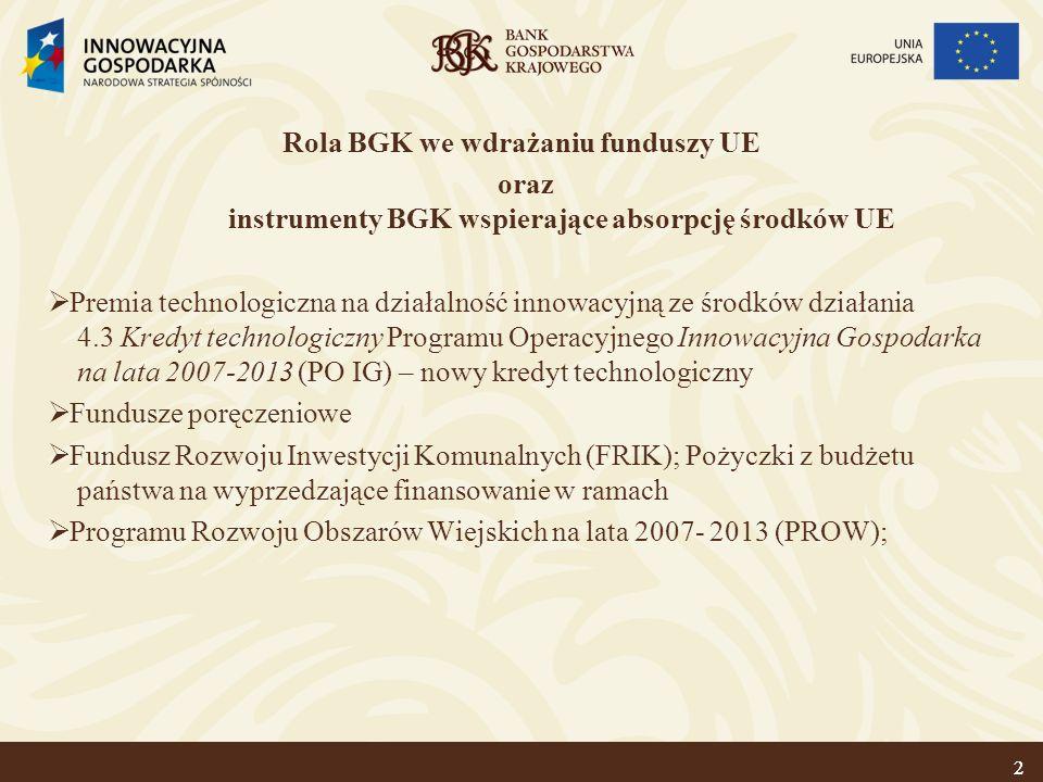 2 Rola BGK we wdrażaniu funduszy UE oraz instrumenty BGK wspierające absorpcję środków UE Premia technologiczna na działalność innowacyjną ze środków