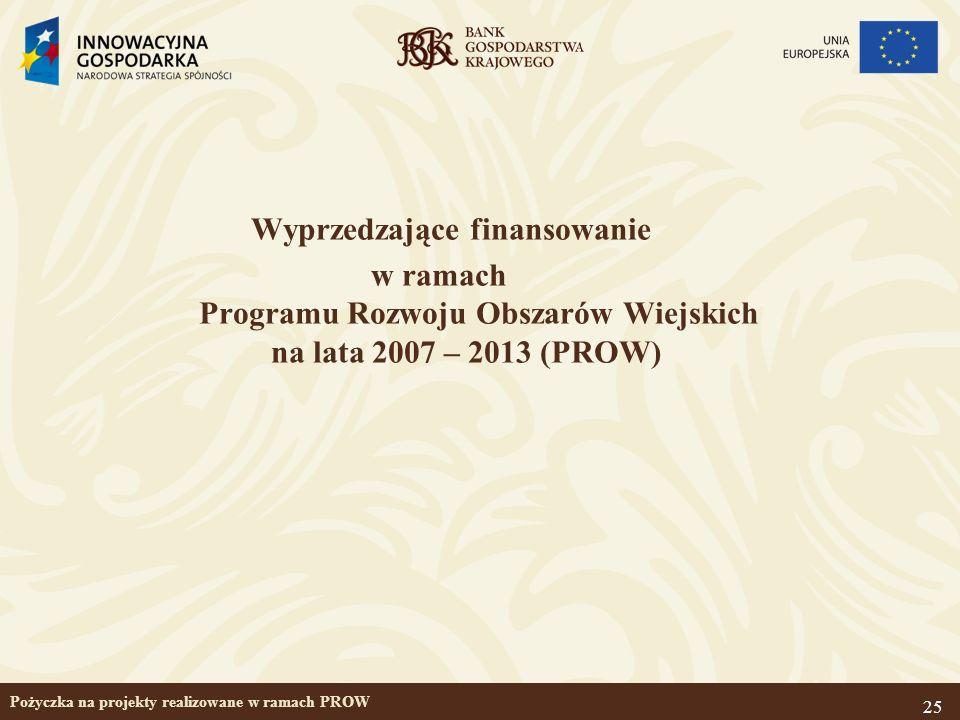 25 Pożyczka na projekty realizowane w ramach PROW Wyprzedzające finansowanie w ramach Programu Rozwoju Obszarów Wiejskich na lata 2007 – 2013 (PROW)