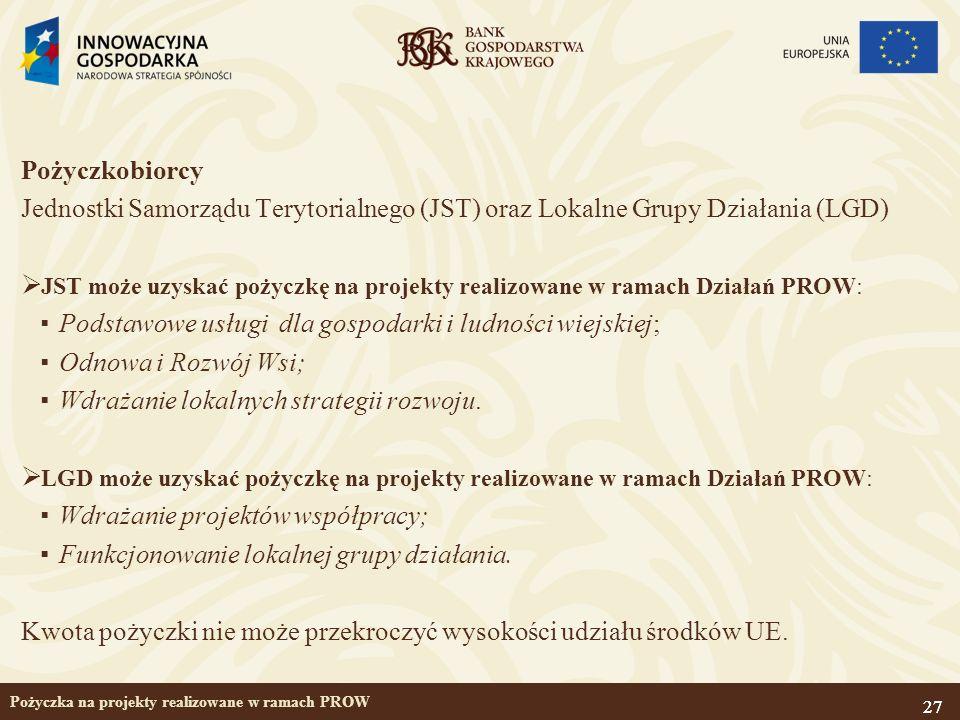 27 Pożyczka na projekty realizowane w ramach PROW Pożyczkobiorcy Jednostki Samorządu Terytorialnego (JST) oraz Lokalne Grupy Działania (LGD) JST może