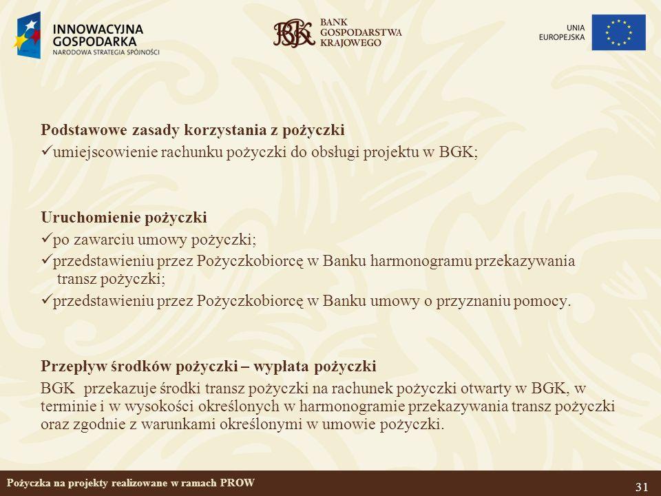 31 Pożyczka na projekty realizowane w ramach PROW Podstawowe zasady korzystania z pożyczki umiejscowienie rachunku pożyczki do obsługi projektu w BGK;