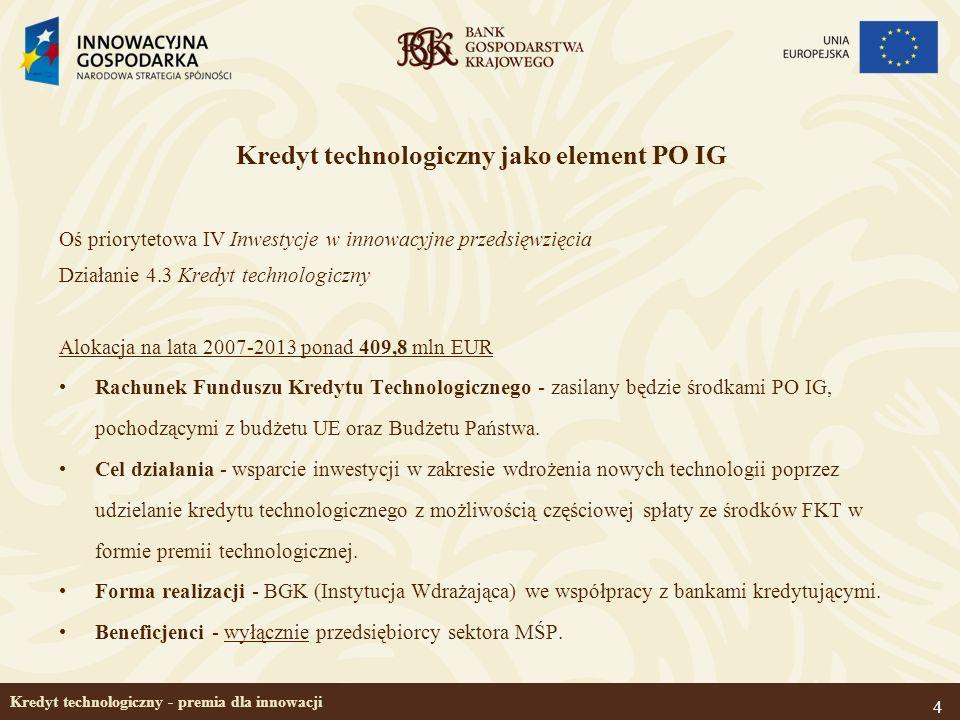4 Kredyt technologiczny - premia dla innowacji Kredyt technologiczny jako element PO IG Oś priorytetowa IV Inwestycje w innowacyjne przedsięwzięcia Dz