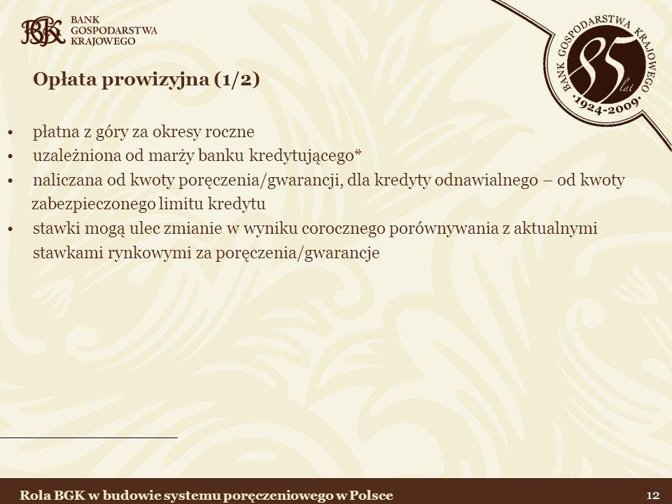 12 Opłata prowizyjna (1/2) płatna z góry za okresy roczne uzależniona od marży banku kredytującego* naliczana od kwoty poręczenia/gwarancji, dla kredy