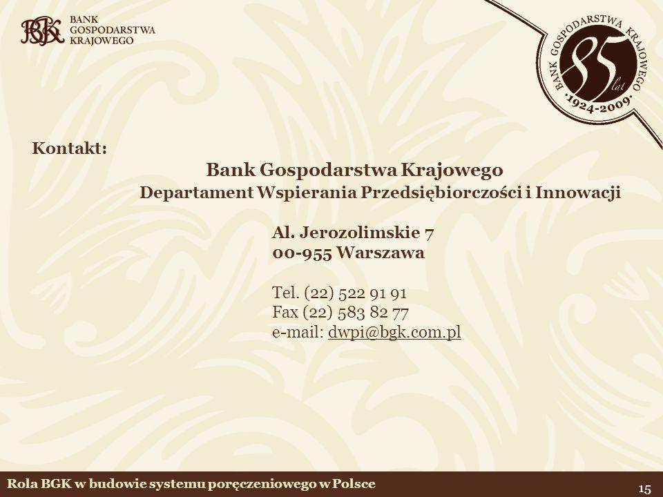 15 Kontakt: Bank Gospodarstwa Krajowego Departament Wspierania Przedsiębiorczości i Innowacji Al. Jerozolimskie 7 00-955 Warszawa Tel. (22) 522 91 91
