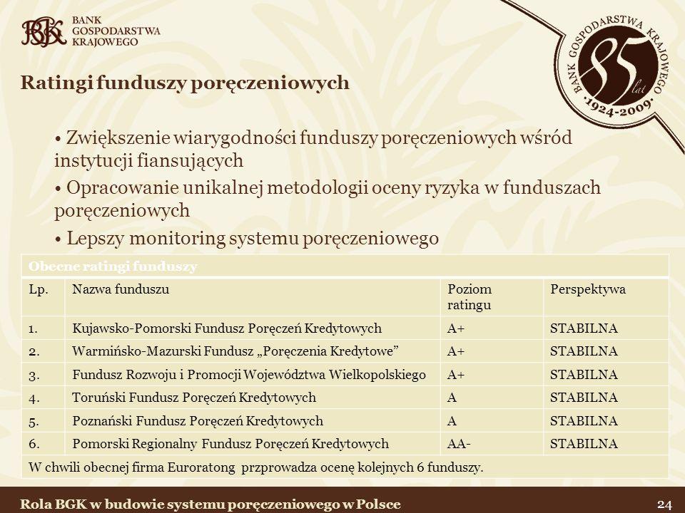 24 Ratingi funduszy poręczeniowych Zwiększenie wiarygodności funduszy poręczeniowych wśród instytucji fiansujących Opracowanie unikalnej metodologii o