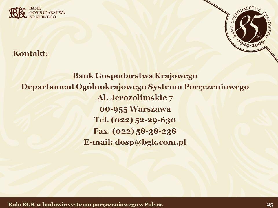 25 Kontakt: Bank Gospodarstwa Krajowego Departament Ogólnokrajowego Systemu Poręczeniowego Al. Jerozolimskie 7 00-955 Warszawa Tel. (022) 52-29-630 Fa