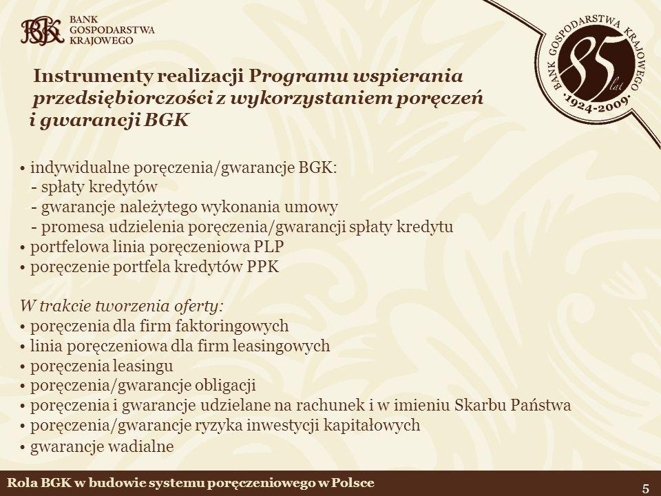 5 Instrumenty realizacji Programu wspierania przedsiębiorczości z wykorzystaniem poręczeń i gwarancji BGK indywidualne poręczenia/gwarancje BGK: - spł