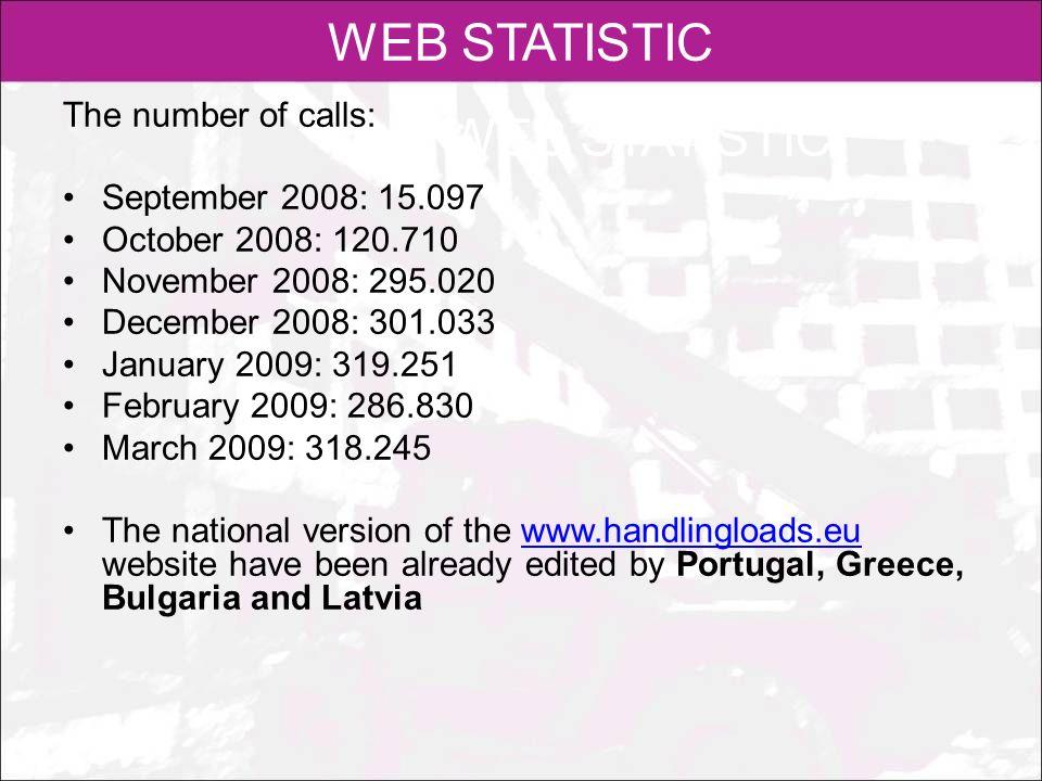 WEB STATISTIC The number of calls: September 2008: 15.097 October 2008: 120.710 November 2008: 295.020 December 2008: 301.033 January 2009: 319.251 Fe