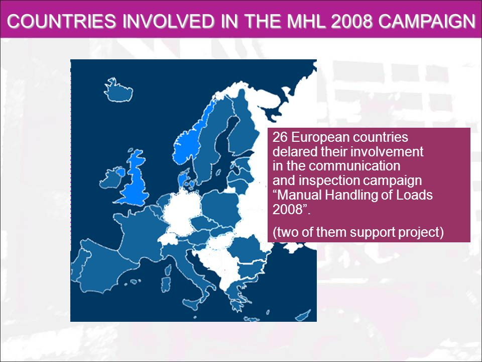 PRODUCTS OF THE MHL 2008 CAMPAIGN The coordinator delivered campaign products in cooperation with NLIs Coherent inspection guidelines for EU Supplementary training materials for labour inspectors Publications – 2 brochures i 2 posters Materials for mass media (press releases, 2 advertising spots) Web page www.handlingloads.eu 2 training animated movies, Summing up seminar
