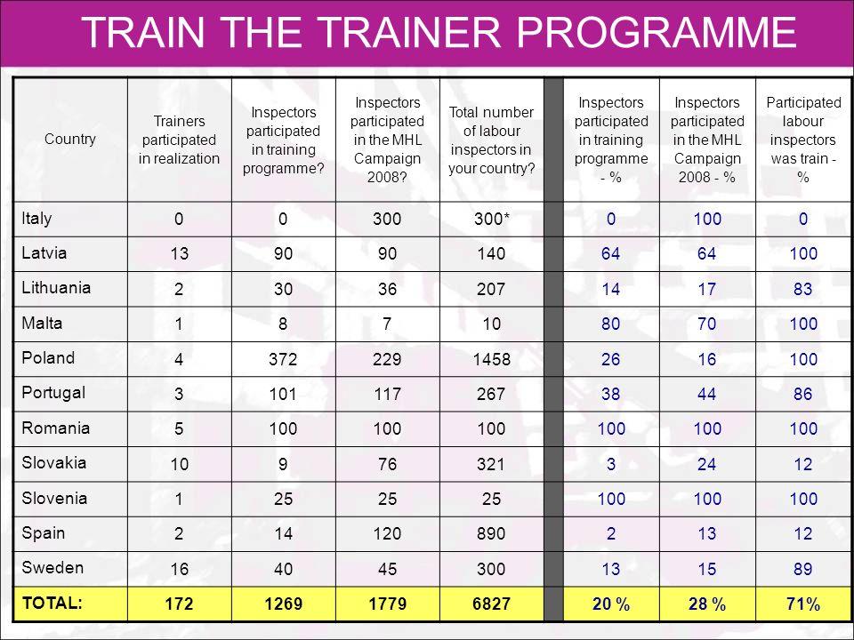 TRAIN THE TRAINER PROGRAMME Ocena uzupełniającego programu szkoleniowego dla inspektorów pracy, stworzonego na potrzeby kampanii: Ocena szkoleń dla inspektorów pracy: N=21, w% Pozytywna 90% Pozytywna 90%