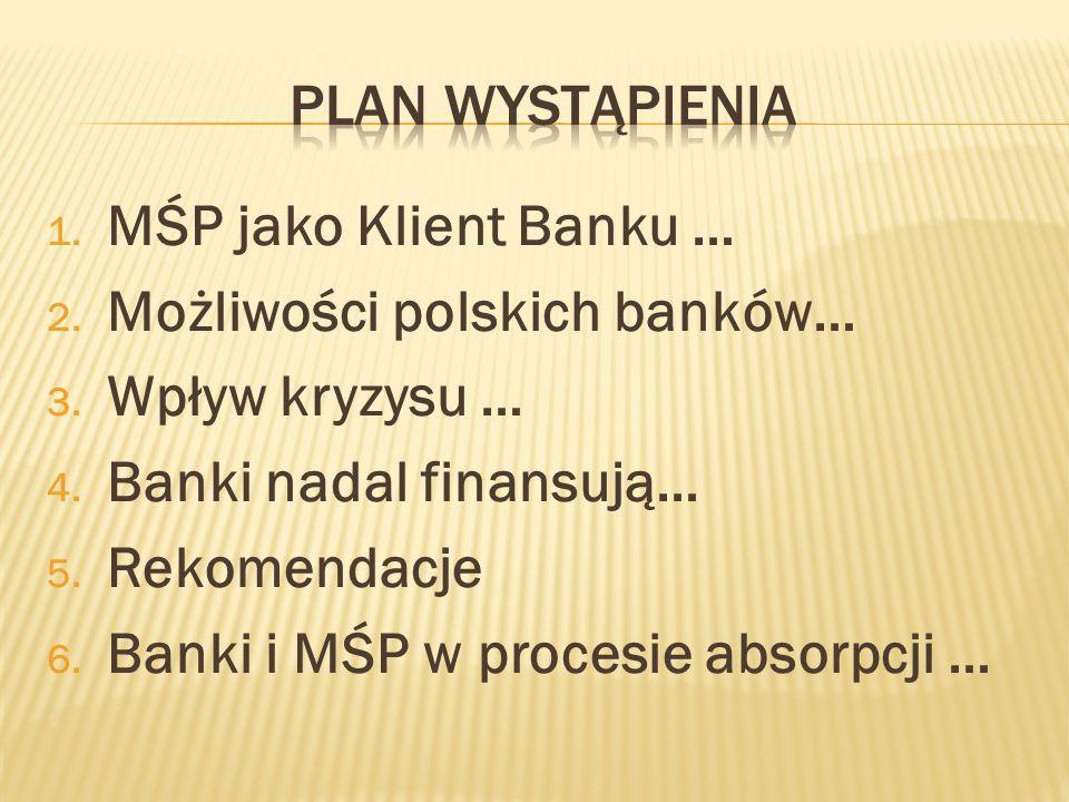 1. MŚP jako Klient Banku … 2. Możliwości polskich banków… 3. Wpływ kryzysu … 4. Banki nadal finansują… 5. Rekomendacje 6. Banki i MŚP w procesie absor