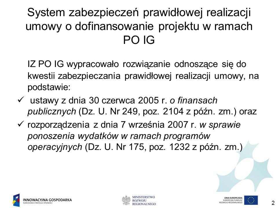 2 System zabezpieczeń prawidłowej realizacji umowy o dofinansowanie projektu w ramach PO IG IZ PO IG wypracowało rozwiązanie odnoszące się do kwestii zabezpieczania prawidłowej realizacji umowy, na podstawie: ustawy z dnia 30 czerwca 2005 r.