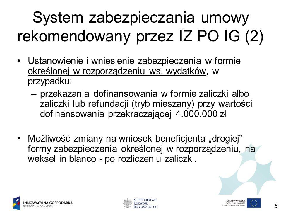 6 System zabezpieczania umowy rekomendowany przez IZ PO IG (2) Ustanowienie i wniesienie zabezpieczenia w formie określonej w rozporządzeniu ws. wydat