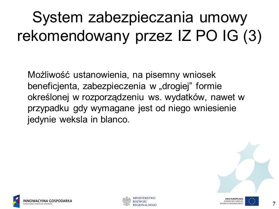 7 System zabezpieczania umowy rekomendowany przez IZ PO IG (3) Możliwość ustanowienia, na pisemny wniosek beneficjenta, zabezpieczenia w drogiej formie określonej w rozporządzeniu ws.
