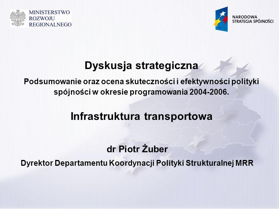 Dyskusja strategiczna Podsumowanie oraz ocena skuteczności i efektywności polityki spójności w okresie programowania 2004-2006. dr Piotr Żuber Dyrekto