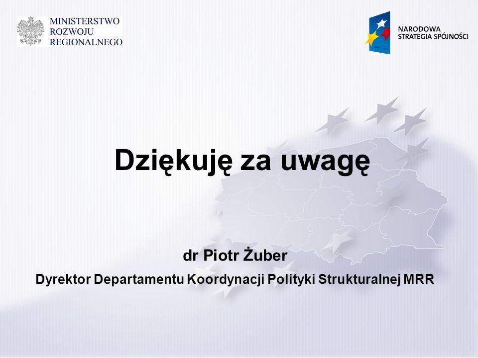 Dziękuję za uwagę dr Piotr Żuber Dyrektor Departamentu Koordynacji Polityki Strukturalnej MRR