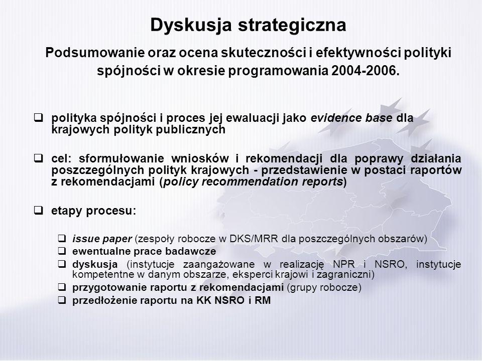 Dyskusja strategiczna Podsumowanie oraz ocena skuteczności i efektywności polityki spójności w okresie programowania 2004-2006. polityka spójności i p