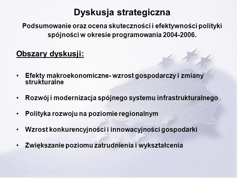 Dyskusja strategiczna Podsumowanie oraz ocena skuteczności i efektywności polityki spójności w okresie programowania 2004-2006. Obszary dyskusji: Efek