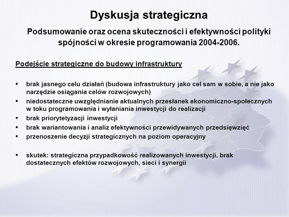 Dyskusja strategiczna Podsumowanie oraz ocena skuteczności i efektywności polityki spójności w okresie programowania 2004-2006. Podejście strategiczne