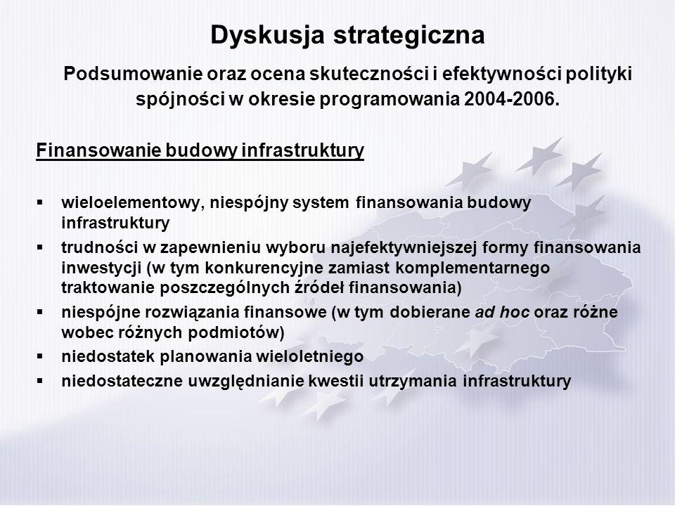 Dyskusja strategiczna Podsumowanie oraz ocena skuteczności i efektywności polityki spójności w okresie programowania 2004-2006. Finansowanie budowy in