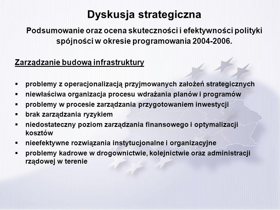 Dyskusja strategiczna Podsumowanie oraz ocena skuteczności i efektywności polityki spójności w okresie programowania 2004-2006. Zarządzanie budową inf