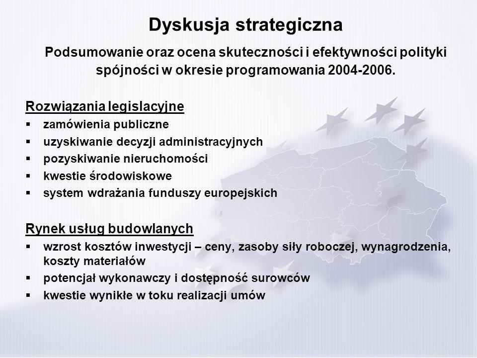 Dyskusja strategiczna Podsumowanie oraz ocena skuteczności i efektywności polityki spójności w okresie programowania 2004-2006. Rozwiązania legislacyj