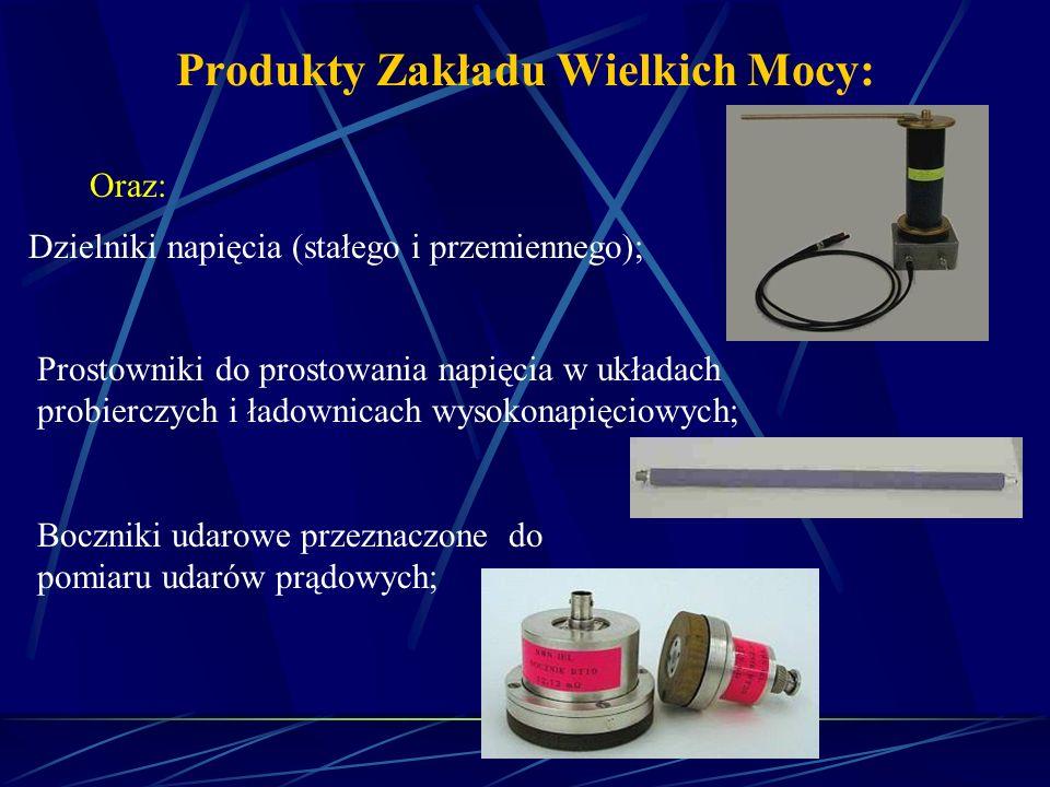 Produkty Zakładu Wielkich Mocy: Oraz: Dzielniki napięcia (stałego i przemiennego); Prostowniki do prostowania napięcia w układach probierczych i ładow