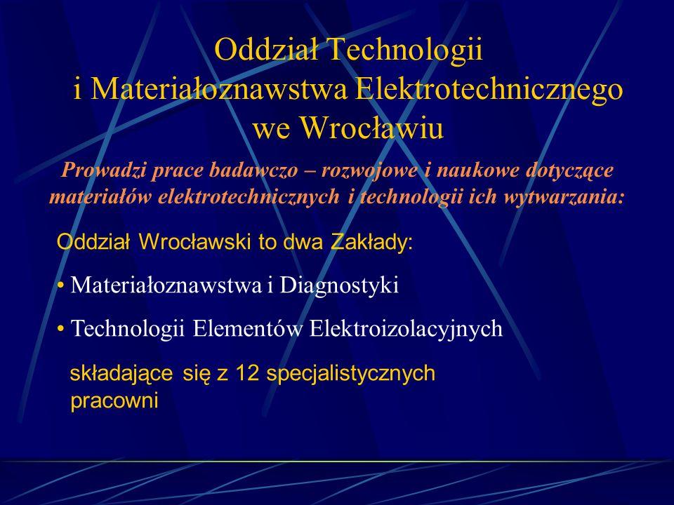 Oddział Technologii i Materiałoznawstwa Elektrotechnicznego we Wrocławiu Prowadzi prace badawczo – rozwojowe i naukowe dotyczące materiałów elektrotec