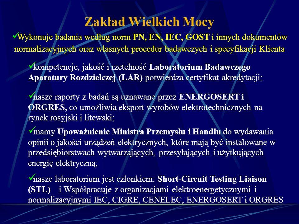 Zakład Wielkich Mocy oferuje: Badania konstruktorskie i badania typu aparatury łączeniowej i sterowniczej oraz urządzeń wysokiego i niskiego napięcia prądu przemiennego i stałego, sprzętu ochronnego, narzędzi do prac pod napięciem i materiałów elektrotechnicznych; Badania dla potrzeb certyfikacji na znak B, na znak zgodności z Polską Normą, zgodności z normami i przepisami prawnymi oraz z wymaganiami zasadniczymi w zakresie objętym Dyrektywą LVD 73/23/EEC; Projektowanie i wykonawstwo, według potrzeb Klienta, specjalistycznych, zautomatyzowanych laboratoryjnych urządzeń probierczych do pomiarów wysokonapięciowych i wielkoprądowych oraz do celów serwisowych; Sprawdzanie przyrządów i przetworników pomiarowych nisko- i wysokonapięciowych oraz wielkoprądowych; Specjalne prace o charakterze analitycznym np.