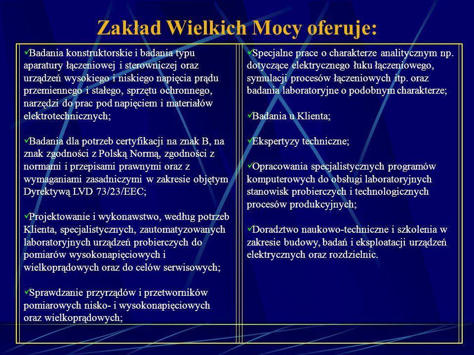 Zakład Przekształtników Mocy Układy napędowe: TRANZYSTOROWY FALOWNIK NAPIĘCIA 250 kW TRANZYSTOROWY FALOWNIK NAPIĘCIA 55 kW PRZEKSZTAŁTNIK CZĘSTOTLIWOŚCI O MOCY 1 MVA I NAPIĘCIU 3 x 660 V