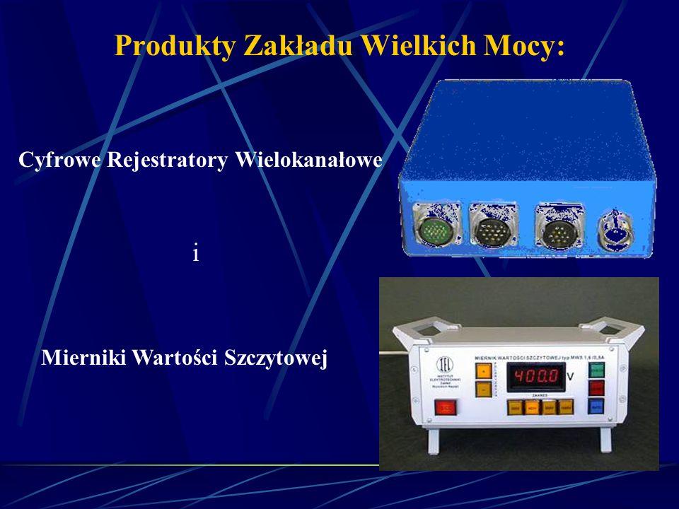 Produkty Zakładu Wielkich Mocy: Oraz: Dzielniki napięcia (stałego i przemiennego); Prostowniki do prostowania napięcia w układach probierczych i ładownicach wysokonapięciowych; Boczniki udarowe przeznaczone do pomiaru udarów prądowych;