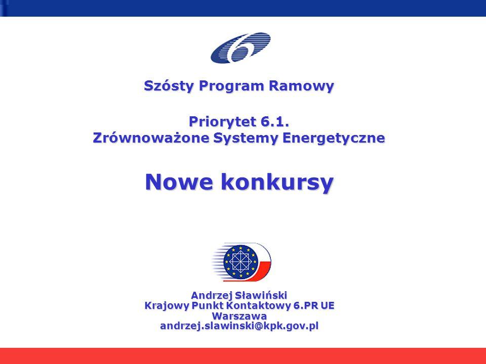 Szósty Program Ramowy Priorytet 6.1. Zrównoważone Systemy Energetyczne Nowe konkursy Andrzej Sławiński Krajowy Punkt Kontaktowy 6.PR UE Warszawaandrze