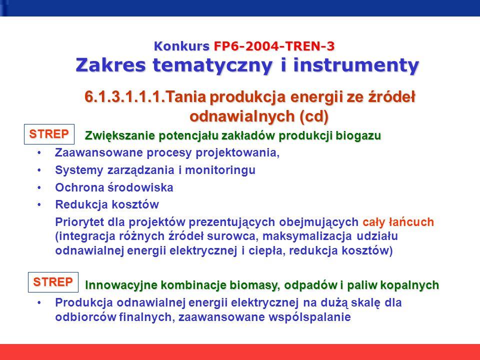 Konkurs FP6-2004-TREN-3 Zakres tematyczny i instrumenty 6.1.3.1.1.1.Tania produkcja energii ze źródeł odnawialnych (cd) Zwiększanie potencjału zakładó