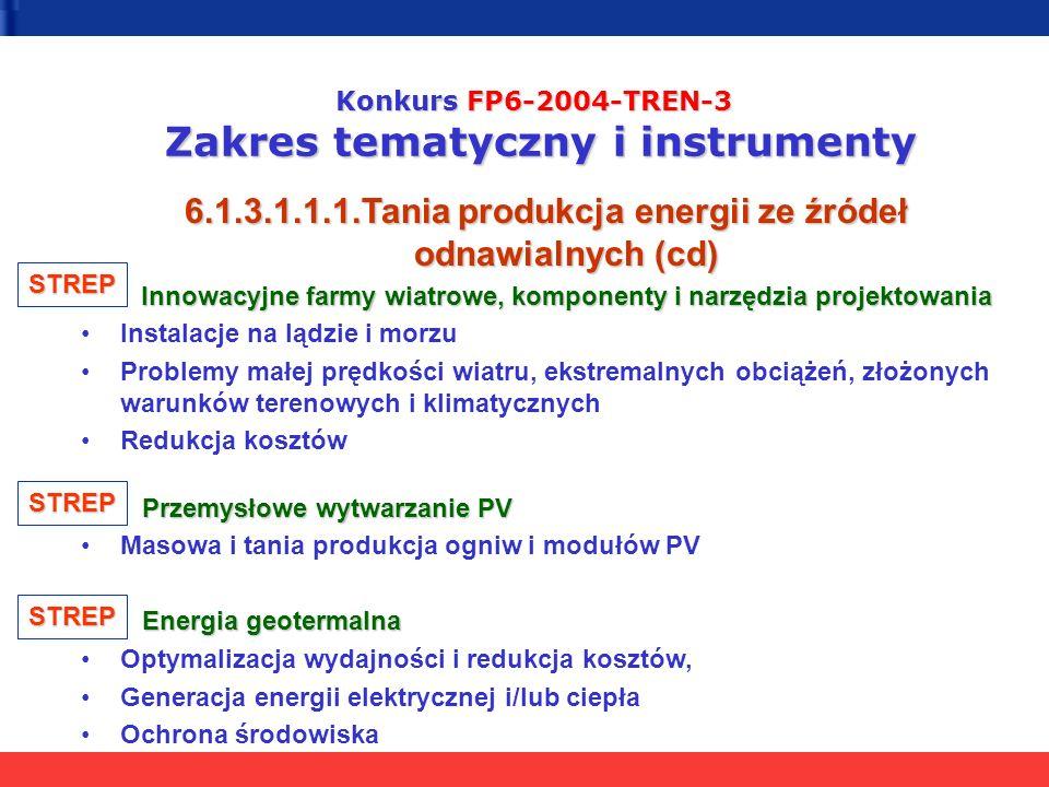 Konkurs FP6-2004-TREN-3 Zakres tematyczny i instrumenty 6.1.3.1.1.1.Tania produkcja energii ze źródeł odnawialnych (cd) Innowacyjne farmy wiatrowe, komponenty i narzędzia projektowania Instalacje na lądzie i morzu Problemy małej prędkości wiatru, ekstremalnych obciążeń, złożonych warunków terenowych i klimatycznych Redukcja kosztów Przemysłowe wytwarzanie PV Przemysłowe wytwarzanie PV Masowa i tania produkcja ogniw i modułów PV Energia geotermalna Energia geotermalna Optymalizacja wydajności i redukcja kosztów, Generacja energii elektrycznej i/lub ciepła Ochrona środowiska STREP STREP STREP