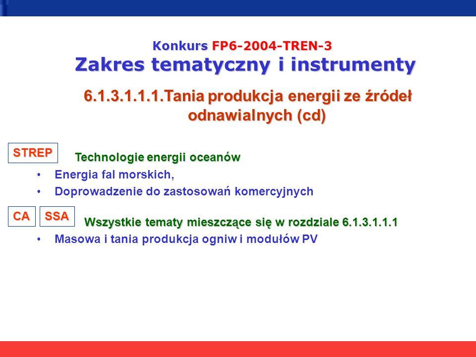Konkurs FP6-2004-TREN-3 Zakres tematyczny i instrumenty 6.1.3.1.1.1.Tania produkcja energii ze źródeł odnawialnych (cd) Technologie energii oceanów Technologie energii oceanów Energia fal morskich, Doprowadzenie do zastosowań komercyjnych Wszystkie tematy mieszczące się w rozdziale 6.1.3.1.1.1 Wszystkie tematy mieszczące się w rozdziale 6.1.3.1.1.1 Masowa i tania produkcja ogniw i modułów PV STREP CASSA